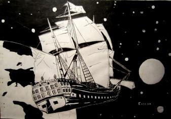 Fragata del siglo XVII. Cortesía de Jaime Cossío.