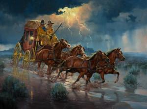La diligencia que pasa por Ramales hacia los Tornos