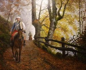 Carlistas por el valle del Asón. Pintor: Ferrer-Dalmau